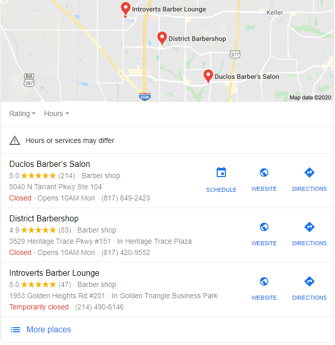 Barbershop Near Me Map Pack