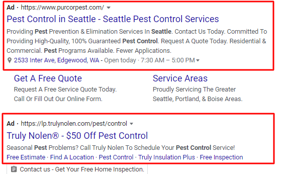 Pest Control Google Ads
