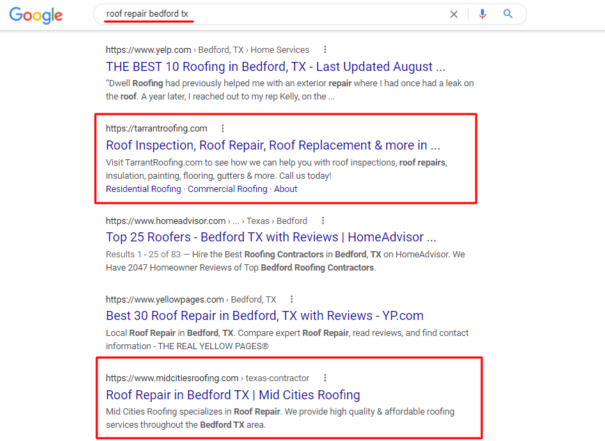 SEO for Roofers Example